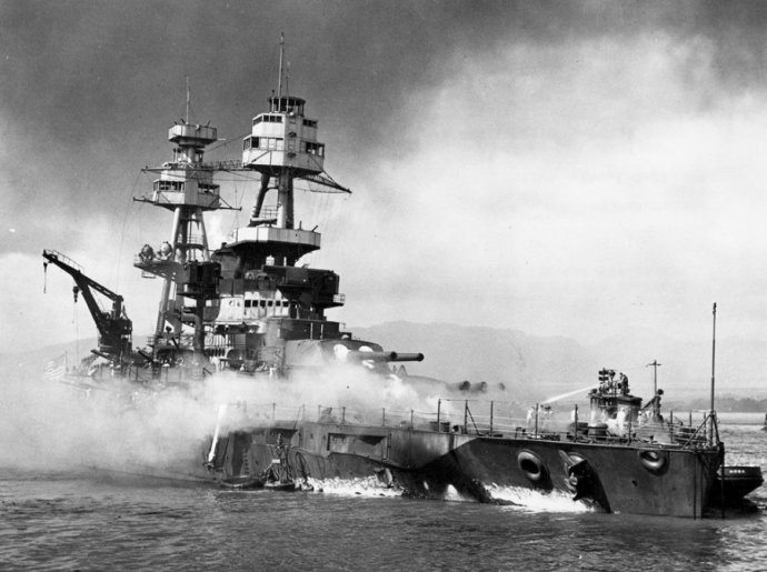 the-battleship-nevada-burns-in-the-aftermath-of-the-japanese-attack-on-pearl-harbor
