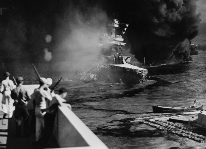 the-uss-california-on-fire-in-pearl-harbor-after-the-japanese-attack