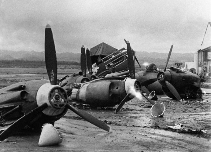 the-wreckage-of-american-planes-bombed-by-the-japanese