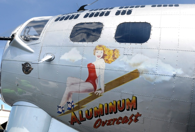 A restored B-17 ''Flying Fortress'' sits at Trenton Mercer Airport, August 13, 2012. Nose art on the ''Aluminum Overcast,'' which also carries the colors of the 398th Bomb Group of World War II, which flew hundreds of missions over Nazi-held territory during the war. TOM GRALISH/PHILADELPHIA INQUIRER